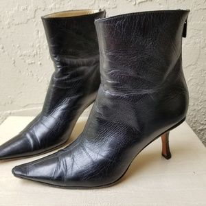 Jimmy Choo Pointed Toe Black Leather Ankle Boots